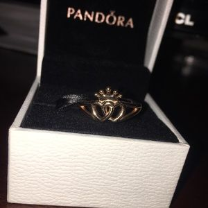 Pandora crown and intertwined hearts ring